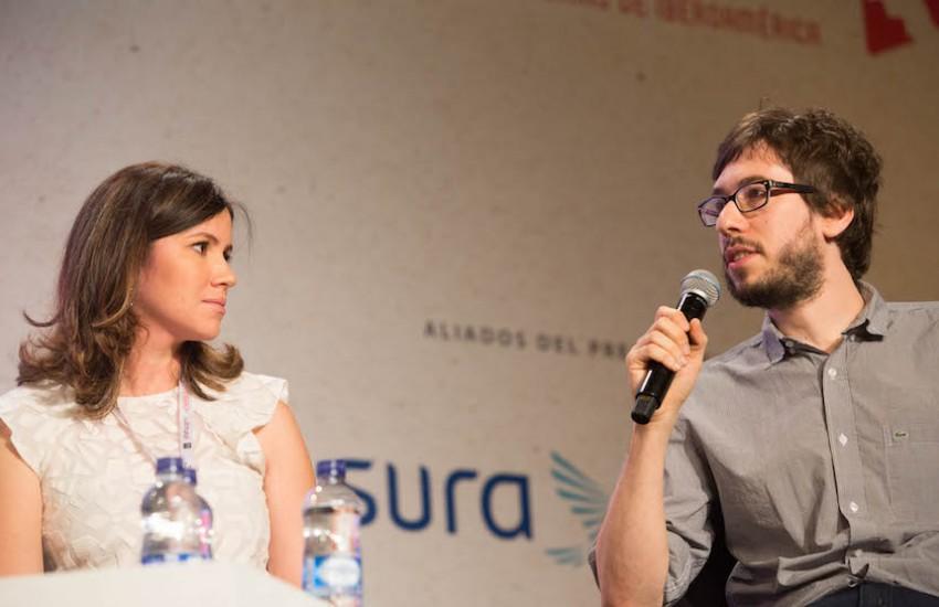 Sabrina Duque y Javier Sinay en el Festival Gabo 2015. Foto: David Estrada Larrañeta / Fundación Gabo.