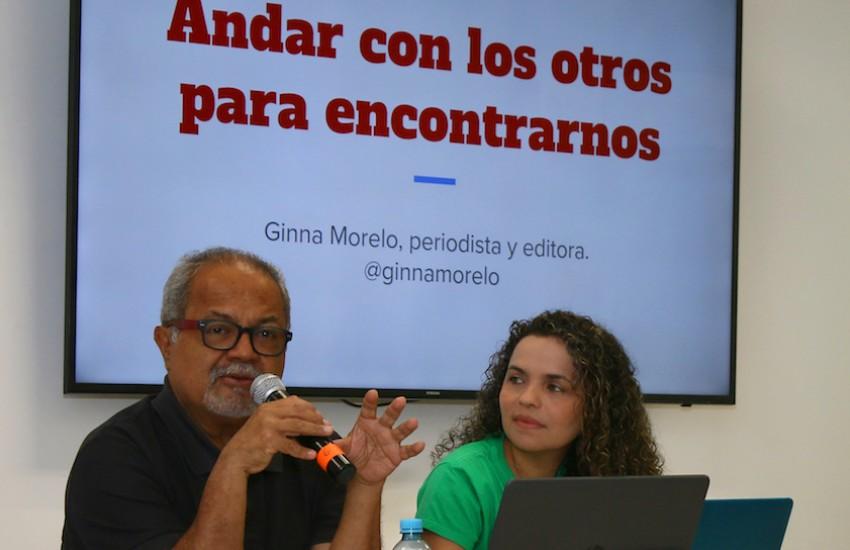 Tulio Hernández y Ginna Morelo. Foto: Guillermo González / Fundación Gabo.