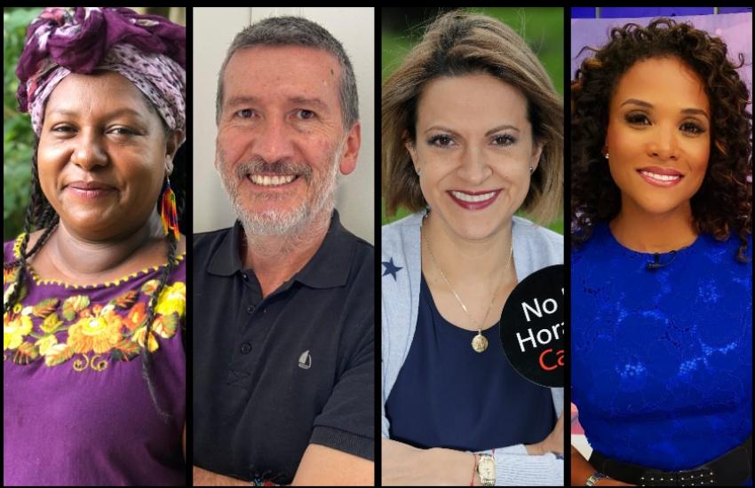 Juana Ruiz, Fernando Sarmiento Santander, Jineth Bedoya y Mábel Lara.