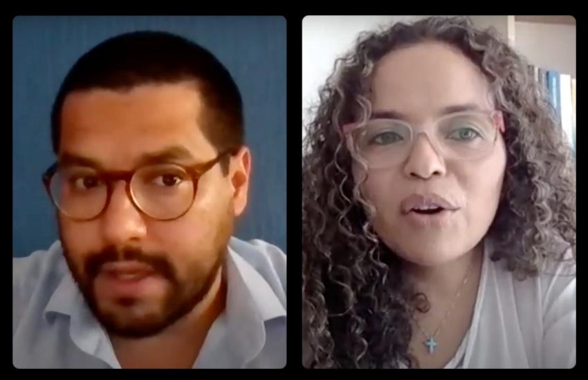 Óscar Martínez y Ginna Morelo durante una sesión del taller virtual 'Desplazamiento forzado: cómo cubrir el caso centroamericano'.