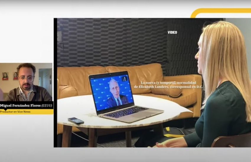 Captura del seminario-taller virtual con Miguel Fernández Flores.
