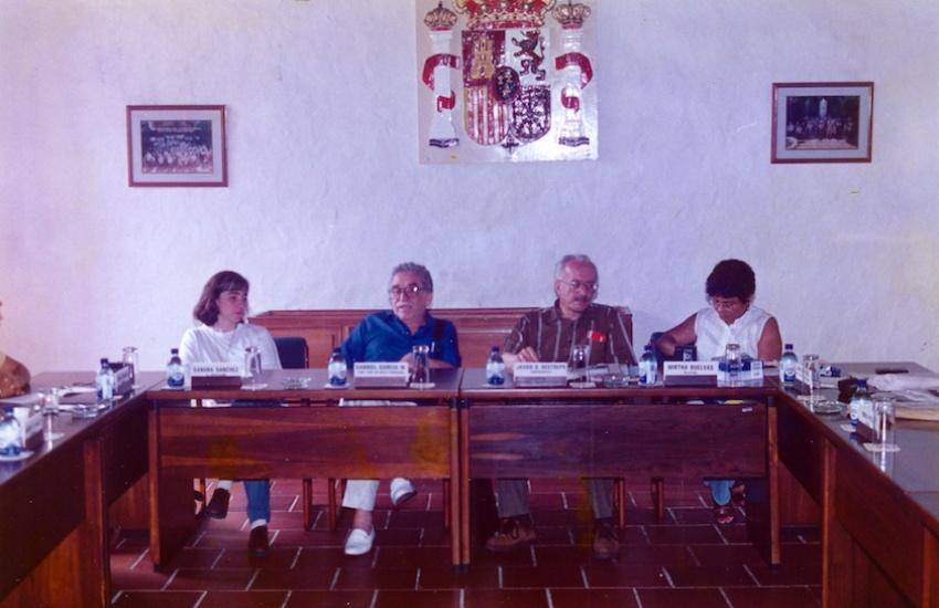 Gabo y Javier Darío Restrepo, durante una de las jornadas del taller.